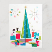 Retro vintage Christmas Holiday cats postcard