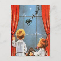 Retro Vintage Christmas Holiday kids postcard