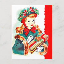 Retro Vintage Christmas Holiday lady postcard