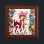 "Retro vintage Christmas Holiday reindeer gift box<br><div class=""desc"">design by www.etsy.com/Shop/VanityFlairDesign</div>"