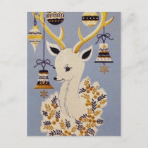 Retro Vintage Christmas Holiday reindeer postcard