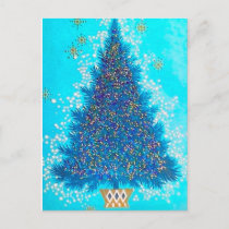 Retro Vintage Christmas Holiday tree postcard