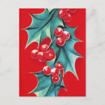 Retro Vintage Christmas holly postcard