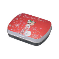 Retro Vintage Christmas lady party tin