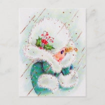 Retro vintage Christmas lady postcard