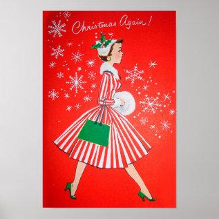 Retro Vintage Christmas Lady Poster at Zazzle