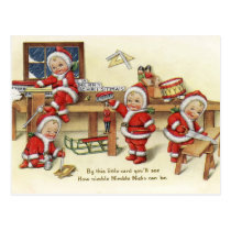 Retro Vintage Christmas NicksHoliday postcard