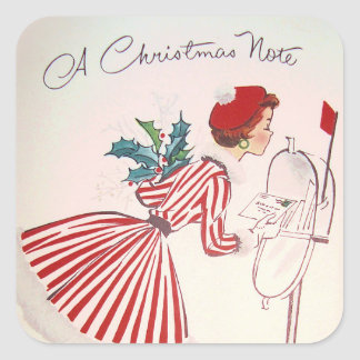 retro Vintage Christmas note lady Holiday sticker
