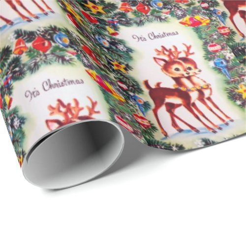 Retro vintage Christmas reindeer party wrap Wrapping Paper