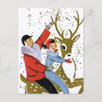 Retro vintage Christmas reindeer ride postcard