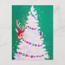 Retro vintage Christmas reindeer tree postcard