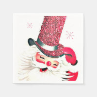 Retro vintage Christmas Santa Holiday napkins