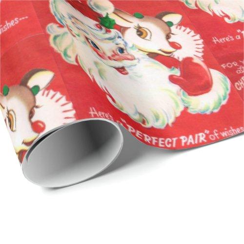 Retro Vintage Christmas Santa Holiday wrap Wrapping Paper