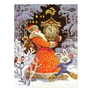 Retro Vintage Christmas, Santa on the clock Postcard