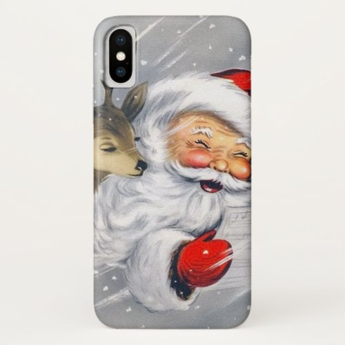 Retro vintage Christmas Santa reindeer iPhone XS Case