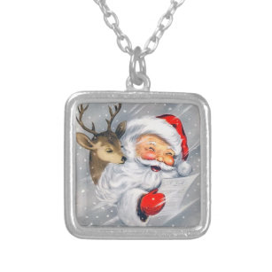 Christmas Santa Necklace Vintage Style Holiday Necklace
