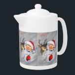 "Retro vintage Christmas Santa reindeer Teapot<br><div class=""desc"">design by www.etsy.com/Shop/VanityFlairDesigns</div>"