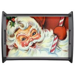 Retro Vintage Christmas Santa serving tray