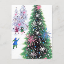 Retro Vintage Christmas tree and kids postcard