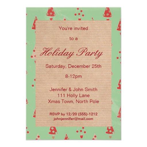 Retro Christmas Party Invitations: Retro Vintage Christmas Tree Holiday Party Invites