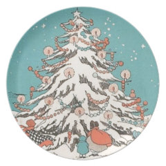 Retro Vintage Christmas Tree Holiday Plate