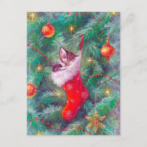 Retro Vintage Christmas tree postcard