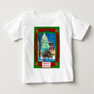 Retro Vintage Christmas tree scenes Baby T-Shirt