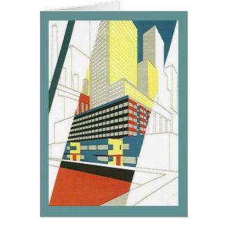 Retro Vintage CityScape skyscraper Blank Note Card