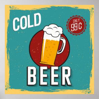 Retro Vintage Cold Beer Poster