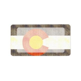 Retro Vintage Colorado Flag Custom Address Label