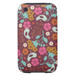 Retro Vintage Colorful Flowers Case Tough iPhone 3 Cases