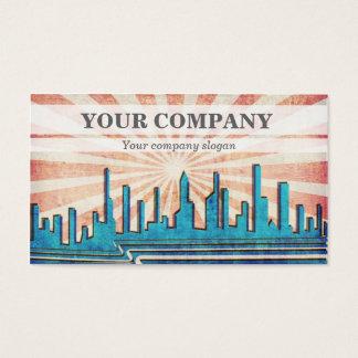 Retro Vintage Colourful Cityscape Business Card