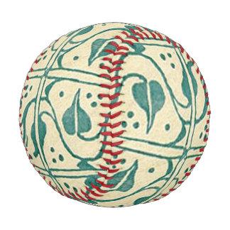 Retro Vintage Creme Green Leaf Vines Baseball