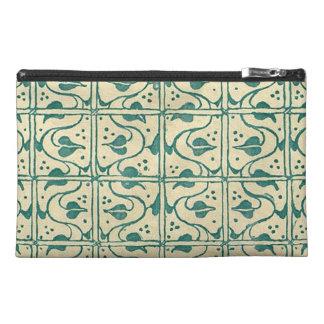 Retro Vintage Creme Green Leaf Vines Travel Accessory Bag