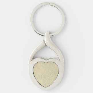 Retro Vintage Creme Leaf Floral Moss Green Silver-Colored Heart-Shaped Metal Keychain