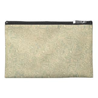 Retro Vintage Creme Leaf Floral Moss Green Travel Accessories Bag