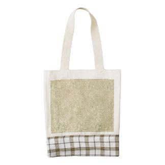 Retro Vintage Creme Leaf Floral Moss Green Zazzle HEART Tote Bag