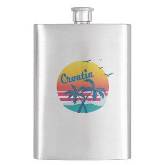 Retro Vintage croatia Sunset, #croatia Flask