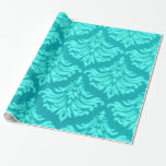 Retro Vintage Damask Brocade Cyan Teal Peacock Wrapping Paper