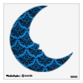 Retro Vintage Damask Flourish Blue Black Wall Sticker