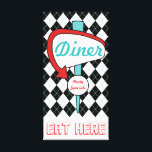 """Retro Vintage Diner Sign Kitchen Wall Art Gift<br><div class=""""desc"""">Black and white argyle with an accent of turquoise decorates this fun, retro inspired Diner sign canvas art. This retro style style diner sign is great for a kitchen, cafe, restaurant, coffee shop, diner, dining room, dining area, basement, retro decor, mid century house, vintage decor, business, etc... The design is...</div>"""