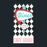 "Retro Vintage Diner Sign Kitchen Wall Art Gift<br><div class=""desc"">Black and white argyle with an accent of turquoise decorates this fun, retro inspired Diner sign canvas art. This retro style style diner sign is great for a kitchen, cafe, restaurant, coffee shop, diner, dining room, dining area, basement, retro decor, mid century house, vintage decor, business, etc... The design is...</div>"