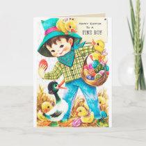 Retro vintage Easter boys Holiday Card