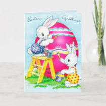 Retro vintage Easter bunny Holiday Card