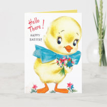 Retro vintage Easter chick Holiday Card