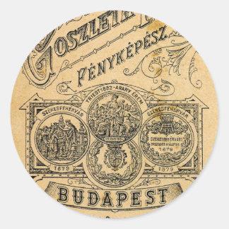 Retro Vintage Ephemera Budapest Official Document Classic Round Sticker