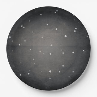 Retro Vintage Faded Black and White Stars Party Paper Plate