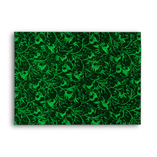 Retro Vintage Feathery Floral Green Envelope