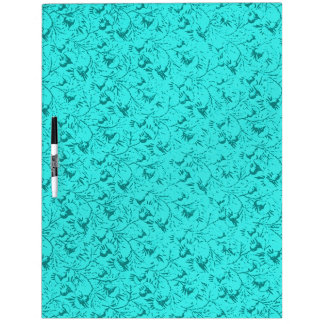 Retro Vintage Feathery Floral Teal Dry Erase Board