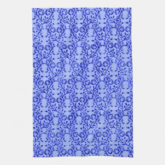 Retro Kitchen Linens: Retro Vintage Floral Blue Kitchen Towels